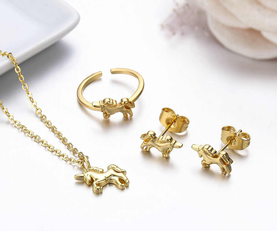 ... Horse Charm Pendant Necklace Stud Earrings Ring Small Jewelry Sets for Women  Girls Kids. RELATED PRODUCTS. Cute Gold Color Mini Slim Small Huggies Hoop  ... 239cf573f4c3