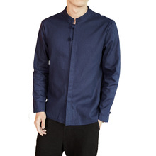 #4493 primavera 2019 camisa de lino sólido hombres Casual Vintage azul/negro/blanco talla grande XXXXXL estilo chino mandarín camisa de cuello masculino