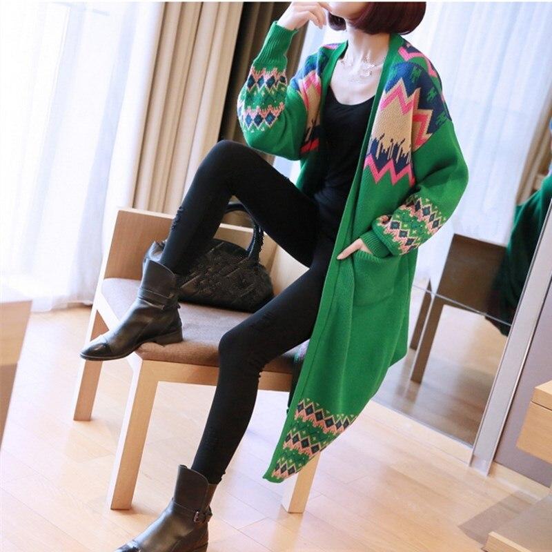 Female Long Cardigan 2018 Autumn Long Sleeve Stitching Cardigan Women Sweater Pockets Women Knitted Jacket
