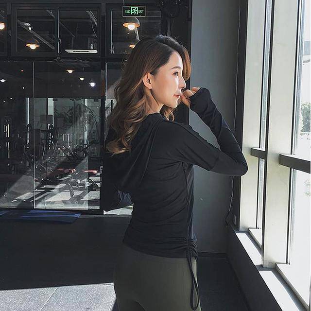 Running Jacket Long Sleeve Sweatshirt Gym Sportswear Fitness Ladies Jogging Hoodie Tops plus size S-2XL 4 colors