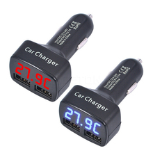 цена на Dual USB 4 In 1 Car Charger DC5V 3.1A USB With Voltage/Temperature/Current Meter Tester Adapter Digital Display
