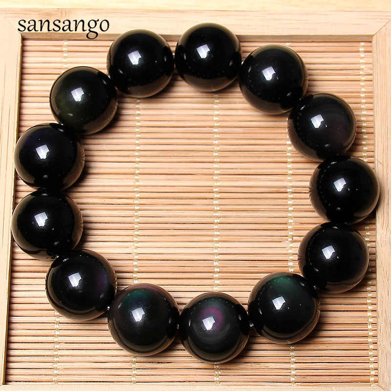 Black Natural Obsidian Stone Apache Tears Volcanic Glaze Beads Amulet Beaded Bracelet For Women Men Exorcise Evil Spirits