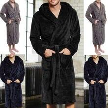 Модные повседневные мужские халаты, фланелевый Халат, v-образный вырез, длинный рукав, для пары мужчин и женщин, халат, плюшевая шаль, кимоно, теплый мужской халат, пальто