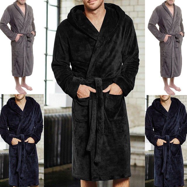 Fashion Casual Mens Bathrobes Flannel Robe V Neck Long Sleeve Couple Men Woman Robe Plush Shawl Warm Male Bathrobe Coat