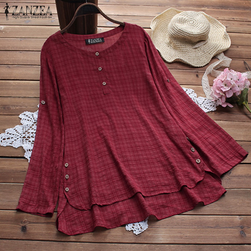 Summer Ladies Long Sleeve Blusas 2019 ZANZEA Vintage Women Casual Plaid   Blouse     Shirt   Loose Tunic Robe Plus Size Feminina Tops