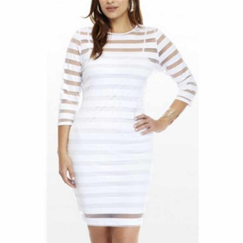Plus Size 4XL Dames Kant Chiffon See Through Mini Jurk Wit Zwart Lange Slevee Bodycon Party Korte Mini Jurk