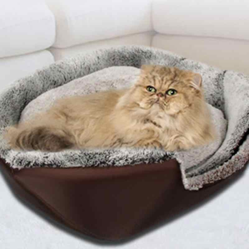 Pet Cat Dog Bed Warming House Soft Material Nest Pets Baskets Winter Warm Kennel For