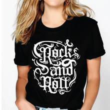 Srivb Rock and Roll Punk Rock Tshirt kobiety Tumblr 2019 lato Hipster drukuj z krótkim rękawem kobiet nowy O-neck na co dzień kobiety t-shirt(China)