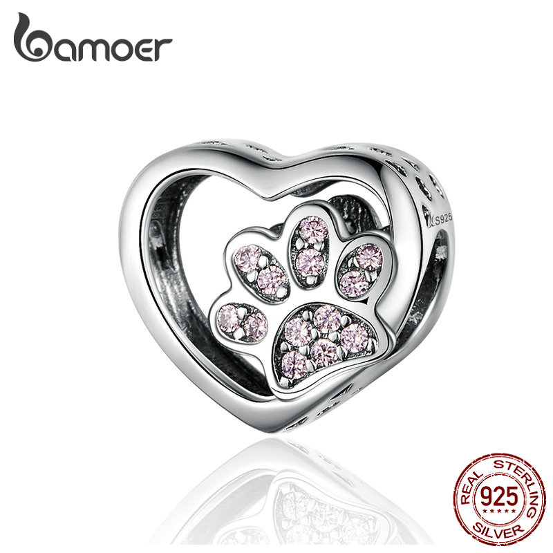 BAMOER Cat Love Heart-shape 925 Sterling Silver Paw Heart