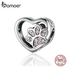 BAMOER Cat Love Heart-shape Charm 925 Sterling Silver Paw Footprints Heart Charms for Bangle Bracelet Fine Jewelry SCC1191(China)