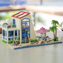 1/24 Blue Sea Sky Handmade DIY Wooden With LED Furniture Assemble Dollhouse Best Birthday Gift For Girl Kids