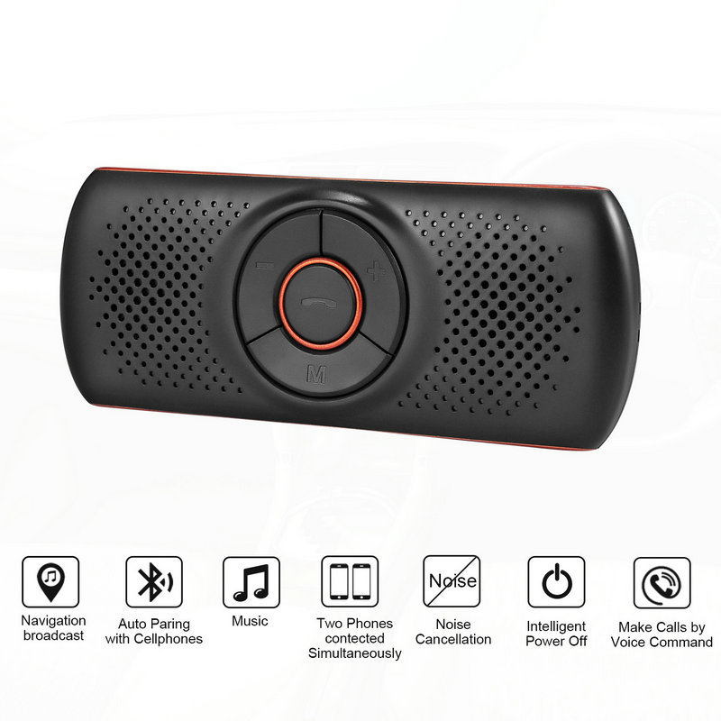 Multi-Função Bluetooth Speakerphone Bluetooth 4.2 EDR Suporte Para SIRI 3 W Speaker Car Handsfree Kit MP3 Adaptador Jogador