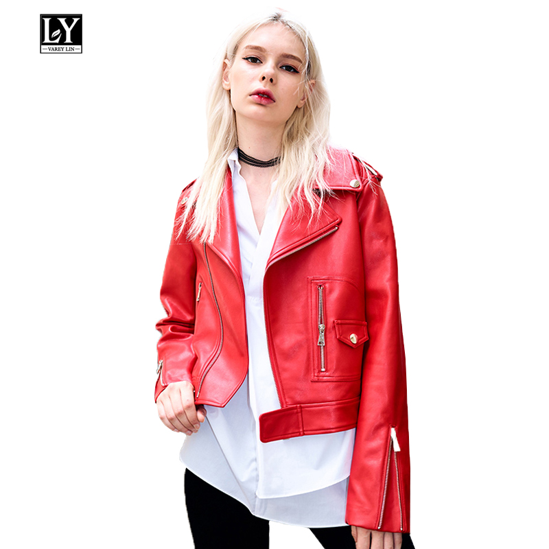 Ly Varey Lin Pu   Leather   Jacket Women Motorcycle Biker Red Faux Soft   Leather   Jackets Turn-down Collar Slim Punk Black Coat