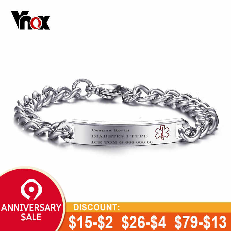 Detail Feedback Questions About Vnox Free Engraving Ice Id Bracelet For Women Men Stainless Steel Chain Type 1 Diabetes Medical Emergency Jewelry On