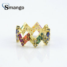 5Pieces,Women Fashion Jewelry,The Rainbow Series Double Wave Shape Rings,Gold Color, Can Wholesale