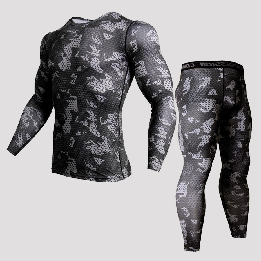 Men Sports Set Tracksuits Compress Shirt  Fitness Pants Skin Tight Long Sleeves Rashguard Training Clothes Mma  Gym Yoga Sui