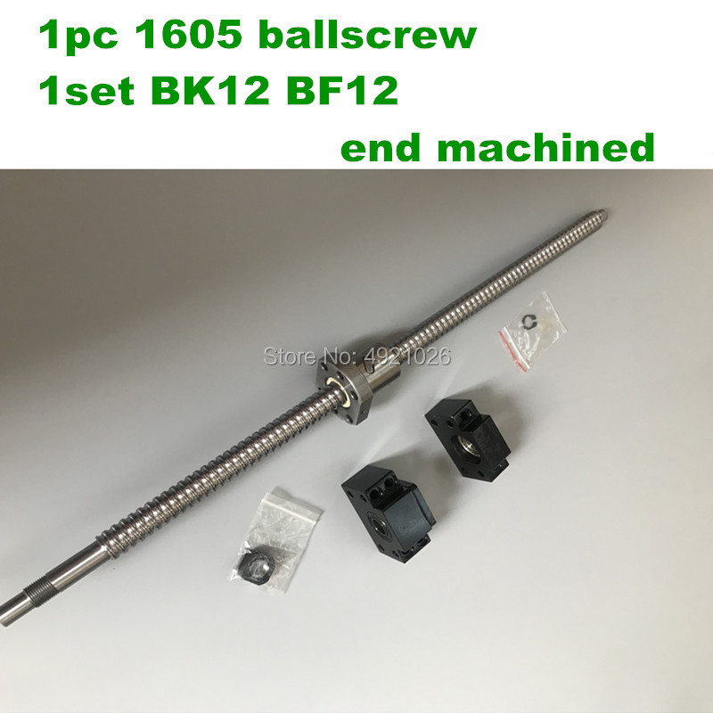 Free shipping SFU1605 BallScrew 200 300 400 500 600 mm + BK12 BF12 End support Rolled Ball screw with single Ballnut for CNCFree shipping SFU1605 BallScrew 200 300 400 500 600 mm + BK12 BF12 End support Rolled Ball screw with single Ballnut for CNC