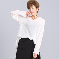 #1480 White Sequin T Shirt Women O neck Long Sleeve T Shirt Shiny Sequined Loose Streetwear See Through Top Women Sexy Shirt