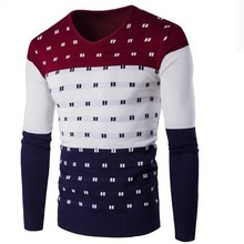 Zollrfea New Fashion Men Casual Warm Sweater Men Round Neck Patchwork High Quality Knitted Male Sweaters Plus Size 2XL AD00161