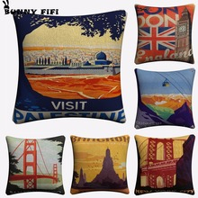 Vintage Landscape Palestine Decorative Pillow Covers For Sofa Home Decor Linen Cushion Case 45x45cm Throw Pillow Cases new year buck flower bird decorative pillow covers for sofa home decor linen cushion case 45x45cm throw pillow cases