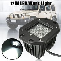 For Jeep ATV Truck SUV 12W 6000k 4 Led Pod Lights Car Spot Beam High Driving Work Fog Light 5 inch Cube 10V 60V Waterproof ip67