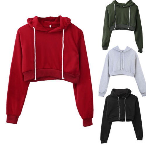 New Women Plain Hoodies Crop Top Solid Color Long Sleeve Ladies Hooded Pullover Summer Autumn Fashion Girl Sweatshirts Clothing