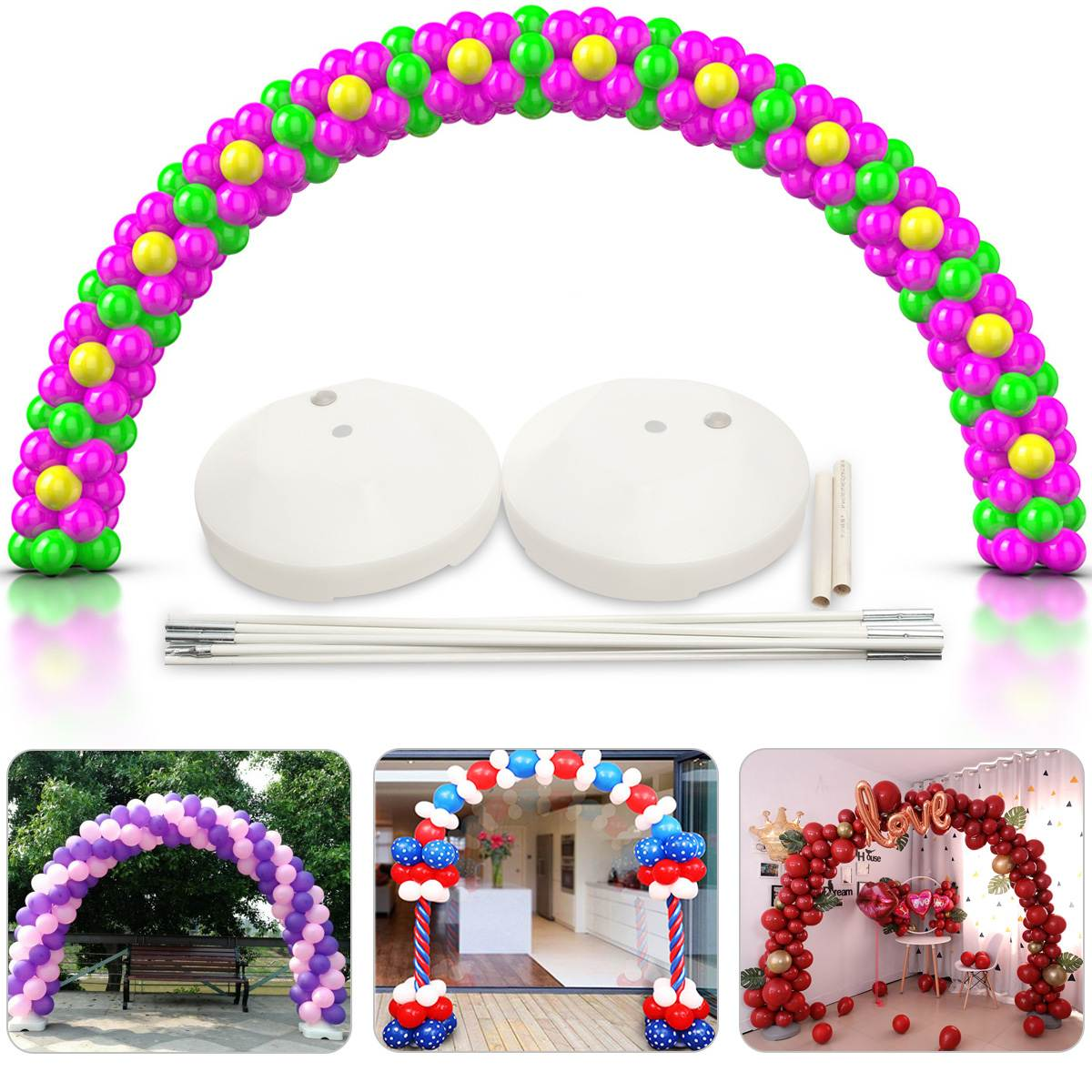 US Balloon Arch Frame Kit Column Water Base Stand Wedding Birthday Party Decor