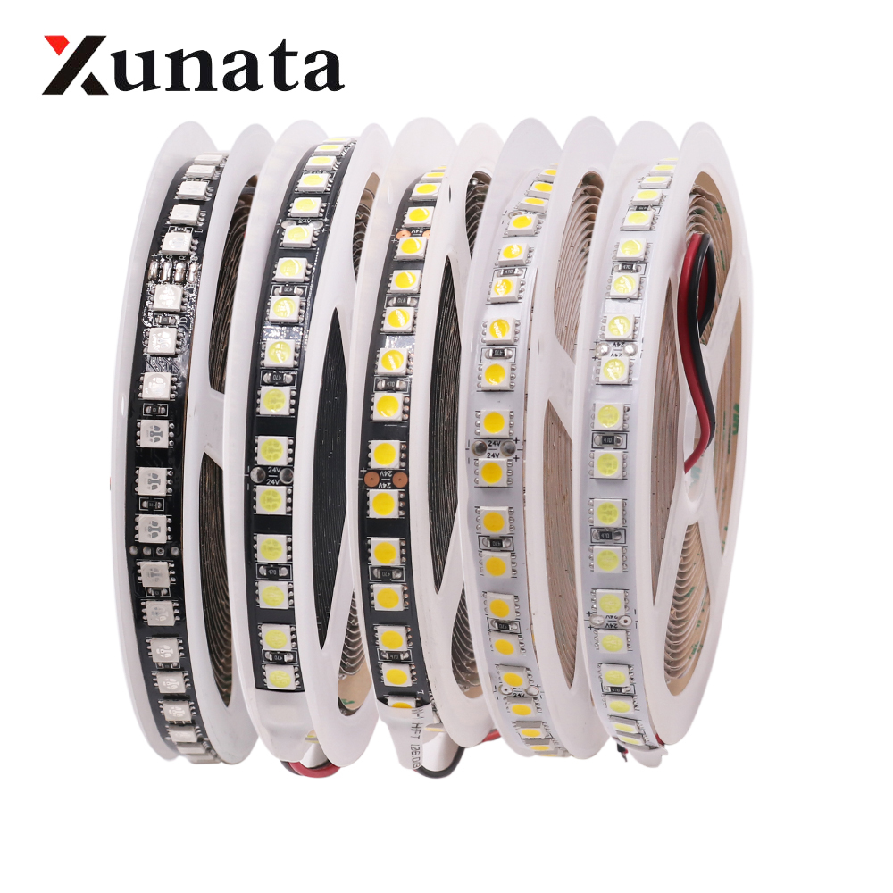 12V 24V 5050 RGB <font><b>LED</b></font> Light <font><b>Strip</b></font> 120 <font><b>LEDs</b></font>/m Cool White Warm White Flexible Tape <font><b>LED</b></font> <font><b>Strip</b></font> Lamp <font><b>Black</b></font> <font><b>PCB</b></font> 5m/roll Free Shipping image
