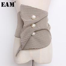 EAM ceinture large pour femmes, nouvelle collection printemps été, carreaux irréguliers, imprimé perle, point irrégulier, mode JO621, 2020