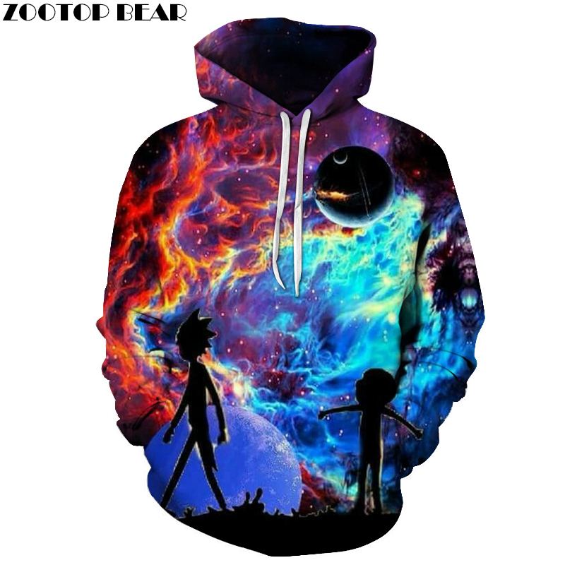 Galaxy Hoodies Men Hoody 3D Sweatshirt Rick and Morty Tracksuit Funny Pullover Cartoon Coat Streatwear Cloth Dropship ZOOTOPBEAR