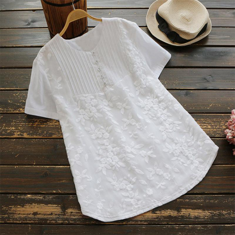 Plus Size 5XL 2019 New Women Fashion Short Sleeve Crochet Embroidery Tops   Blouses     Shirts   Summer Casual Floral   Shirts   Blusas