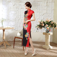 SHENG COCO Women Unique Red Black Long Cheongsam Dresses Chinese Style Daily Banquet Silks Satins Elegant Peacock Flower Qipao