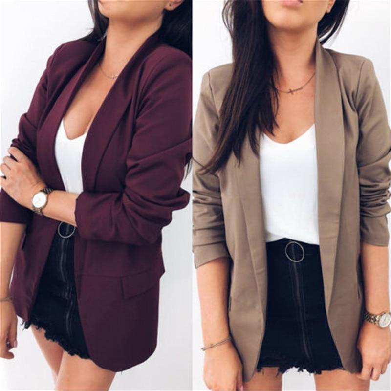 Frauen Kleidung & Zubehör Gutherzig Frauen Dünne Beiläufige Business Einfache Blazer Anzug Jacke Mantel Outwear Sorten Es Design Reinweiß Und LichtdurchläSsig