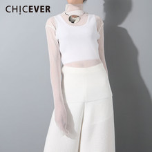 CHICEVER Winter Pleated High Collar Female T Shirts For Women Top Knitting Pullovers Perspective T shirts Clothes Fashion Korean(China)