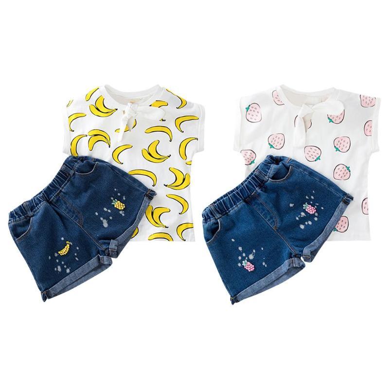 2 Pz/set Bambini Frutta Di Stampa T-shirt Shorts Pantaloni Vestito Abiti Di Estate Delle Ragazze Vestiti Dei Bambini Stabiliti Tuta Dolce Magliette E Camicette Jeans Pantaloni