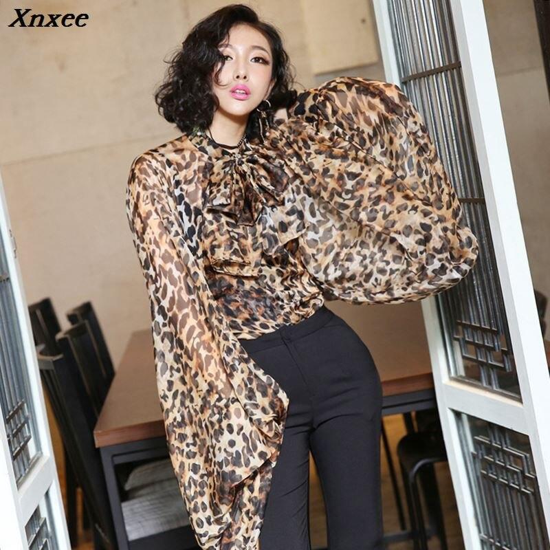 Xnxee Streetwear Leopard Blouse Sheer Tops Long Lantern Sleeve Women Shirt Korean Fashion Clothing 2019
