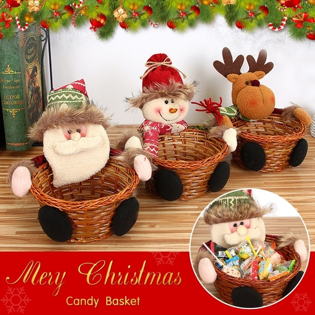 merry christmas candy storage basket decoration santa claus storage basket gift home party christmas decorations