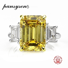PANSYSEN Elegant lady 10x14mm Natural Citrine Rings for Women 100% Genuine Sterling Silver 925 Jewelry Ring 6 Colors Size 4-12