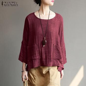 97ab4b830d23 Top moda 2019 ZANZEA primavera algodón Lino Blusas Mujer sólido ...