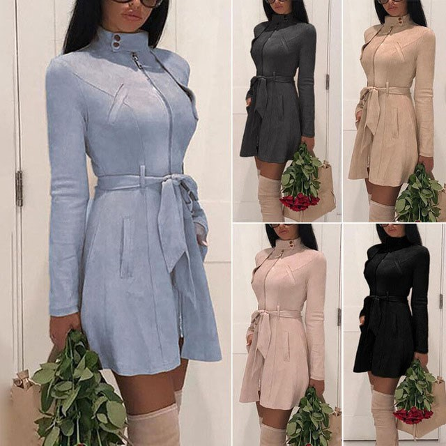 Winter Women Solid Casual Faux   Leather   Coats Elegant Sash   Suede   Jackets OL Mandarin Collar Long Sleeve Slim Trench Coats Outwear
