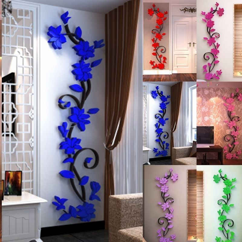 1pc Wall Stickers Decal Home Decor DIY Vase Flower Crystal Arcylic 3D Stickers For kids room 24*80cm 2018 Gift Drop shipping