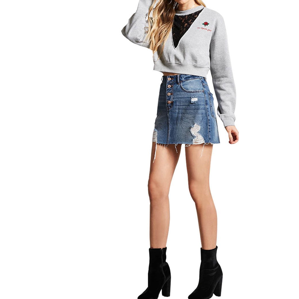 HDY Haoduoyi Sexy V-neck lace stitching embroidered rib short sweater