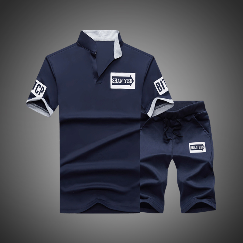 Sportsuits Set Men 2019 Brand Fitness Suits Summer 2PC Top Short Set Mens Stand Collar Fashion 2 Pieces T-shirt Shorts Tracksuit