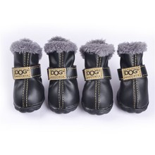 4 Pcs/set Fashion Dogs Winter Snow Boots Leather Dog Shoes For Chihuahua Waterproof Anti Slip Pet Shoes For Small Dogs