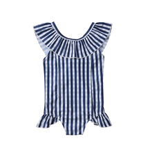 Summer Lovely Kids Baby Girl Stripe Round Ruffles Neck Swimwear Cute Little Girl Swimsuit Bathing Suit Beachwear Costumes 1-6T