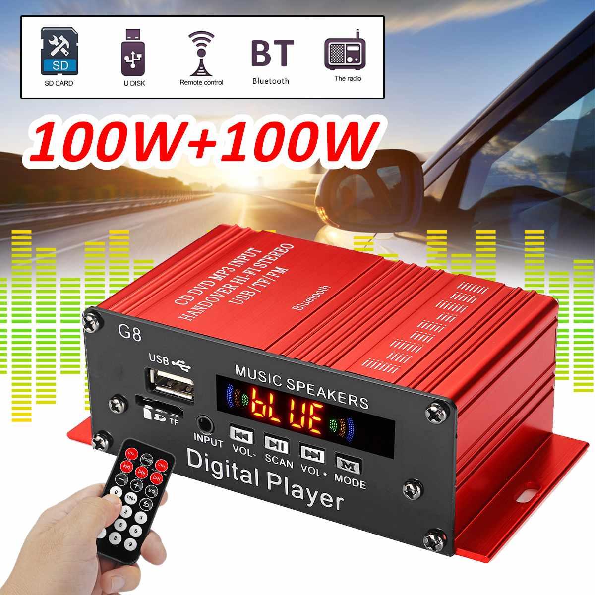 G8 200 W 12 V coche Amplificador HIFI Amplificador de potencia de Audio estéreo Bluetooth casa teatro amplificadores Radio FM 2CH USB /TF/AUX