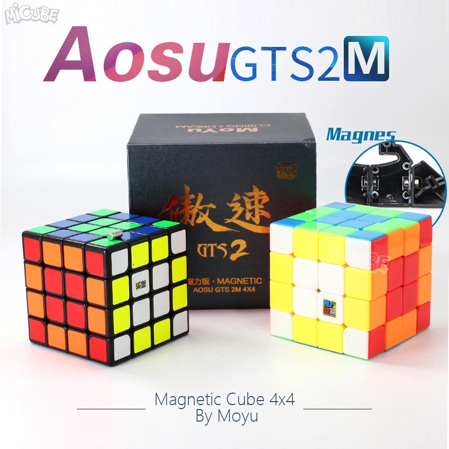 Moyu Aosu GTS2M GTS2 M 4x4x4 Cube magnétique vitesse Puzzle Cubo Magico 4x4 Aosu GTS V2 M pour jouet enfant noir sans autocollant professionnel