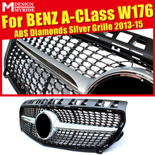 W176 Diamond Grills Grill ABS Silver Without Sign Front Bumper Grille Fit For A-Class A180 A200 A250 A45 Mesh 2013-15