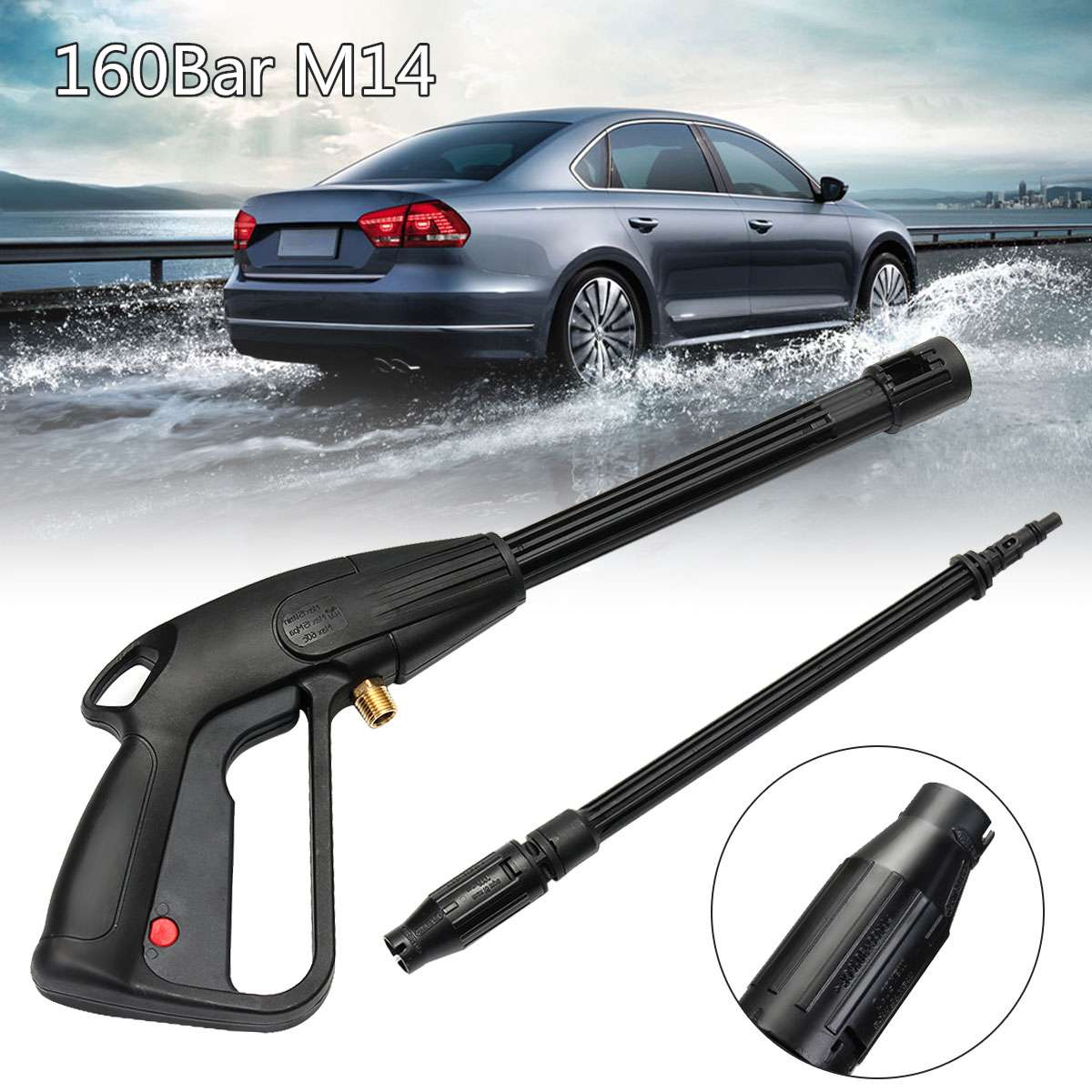 160bar M14 High Pressure Washer Spray Pipeline Car Wash Cleaning Lance Wand Kit