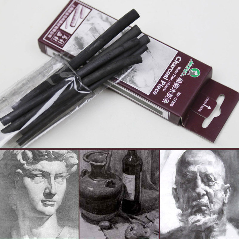 6PCS/Set Professional Artist Sketching Charcoal Strip 3-8mm Different Size Drawing Sketching Tools Student School Art Supplies